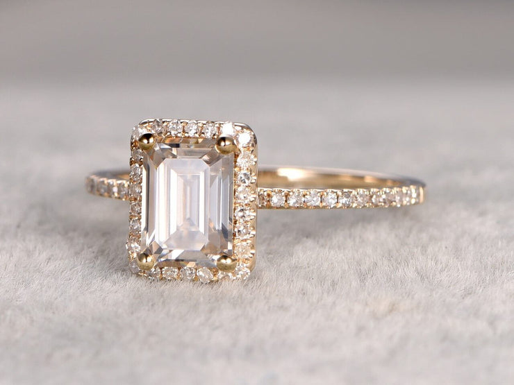 Best 1.25 Ct Moissanite and Diamond Ring with Emerald cut in Yellow Gold