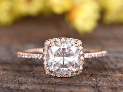 Antique 1.25 Carat Moissanite and Diamond Ring with Cushion Cut