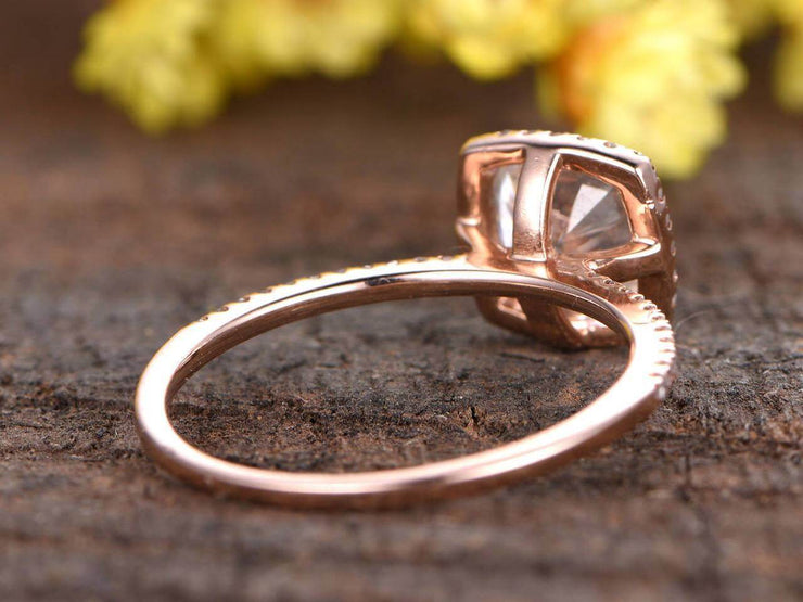 Antique 1.25 Carat Moissanite and Diamond Ring with Cushion Cut in 10k Rose Gold