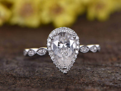 Classic 1.25 Carat Moissanite and Diamond Engagement Ring in White Gold