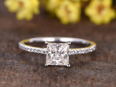 Prinncess Cut 1.25 Carat Moissanite and Diamond Solitaire Ring