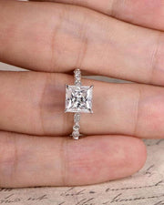 Prinncess Cut 1.25 Carat Moissanite and Diamond Solitaire Ring in White Gold