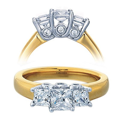 Diamond and Moissanite Engagement Ring 1.50 Carat Three Stone Princess Cut for Her in Yellow Gold