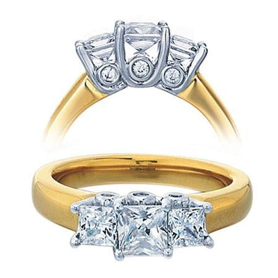 Diamond and Moissanite Engagement Ring 1.50 Carat Three Stone Princess Cut for Her in Sterling Silver with Yellow Gold Plating