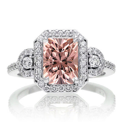 2 Carat Emerald Cut Morganite Halo Engagement Ring on 10k White Gold