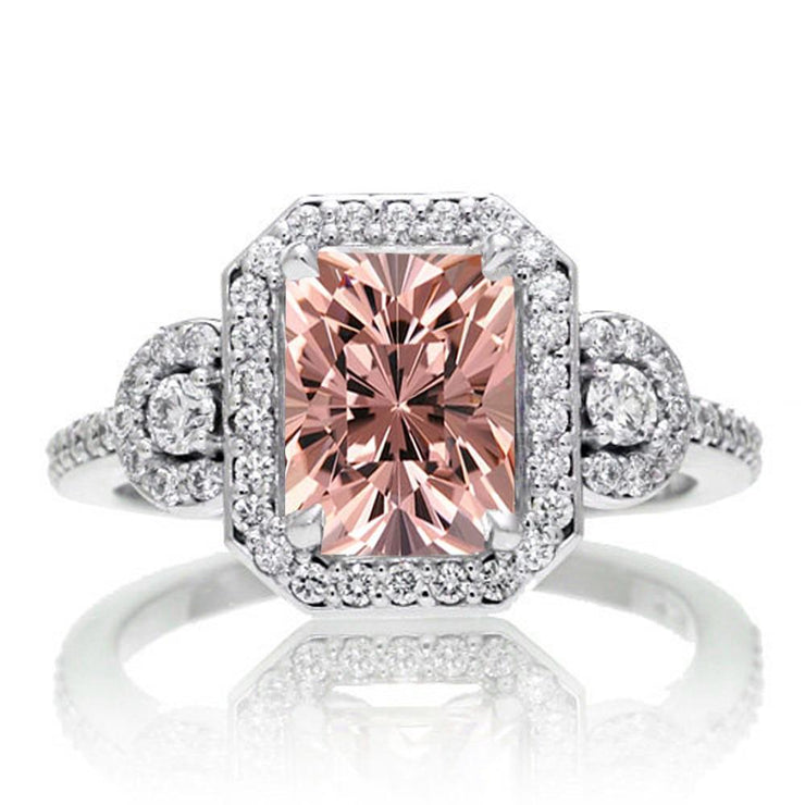 2 Carat Emerald Cut Morganite Halo Engagement Ring
