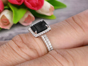1.75 Carat Emerald Cut Wedding Set Black Diamond Moissanite Engagement Ring With Matching Band On 10k White Gold