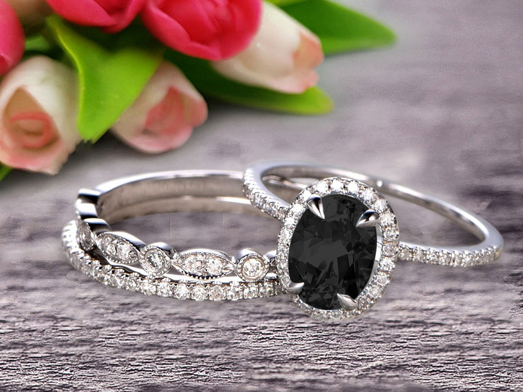 2 Carat Oval Cut Black Diamond Moissanite Wedding Anniversary Gift Engagement Ring On 10k White Gold With Matching Band Art Deco Vintage Look