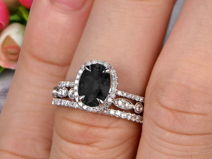 3 Carat Oval Cut Black Diamond Moissanite Wedding Anniversary Gift Engagement Ring On 10k White Gold With Matching Band Art Deco Vintage Look