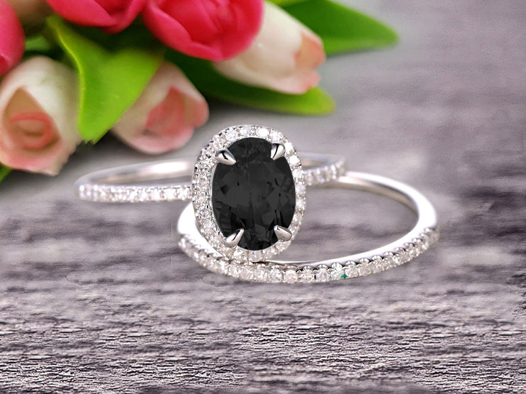 1.75 Carat Oval Cut Black Diamond Moissanite Wedding Anniversary Gift Bridal Set Engagement Ring On 10k White Gold With Matching Band Art Deco Vintage Look