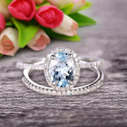 1.75 Carat Oval Cut Aquamarine Wedding Anniversary Gift Bridal Set Engagement Ring On 10k White Gold With Matching Band Art Deco Vintage Look