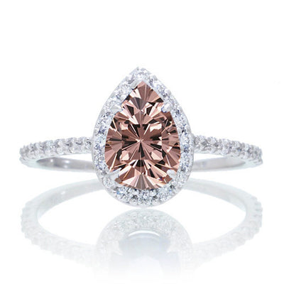1.5 Carat Classic Pear Cut Morganite Engagement Ring on 10k White Gold