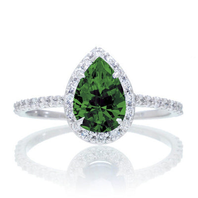 1.5 Carat Classic Pear Cut Emerald With Moissanite Diamond Celebrity Engagement Ring on 10k White Gold