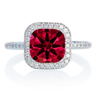 1.5 Carat Cushion Cut Classic Ruby and Moissanite Diamond Halo Multistone Engagement Ring on 10k White Gold