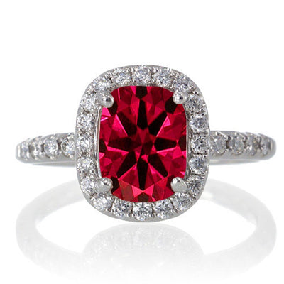 1.5 Carat Cushion Cut Ruby Antique Moissanite Diamond Engagement Ring on 10k White Gold