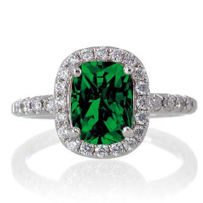 1.5 Carat Cushion Cut Emerald Antique Moissanite Diamond Engagement Ring on 10k White Gold