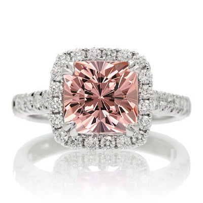 1.80 Carat Cushion Cut Morganite Engagement Ring Halo Desgin on 10k White Gold