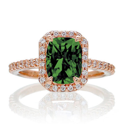 1.5 Carat Emerald Cut Emerald and Moissanite Diamond Halo Engagement Ring on 10k Rose Gold