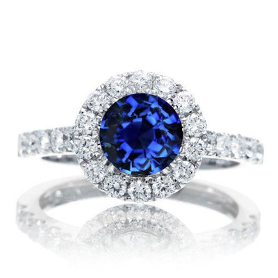 1.5 Carat Round Classic Halo Sapphire and Moissanite Diamond Engagment ring on 10k White Gold