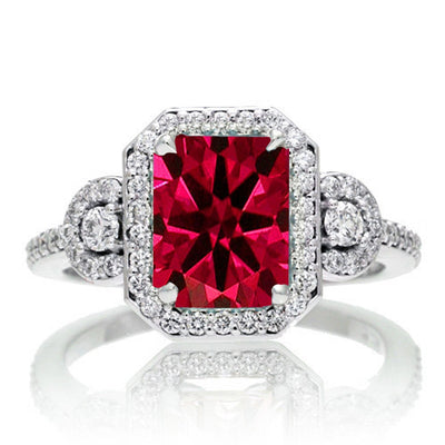 1.5 Carat Emerald Cut Three Stone Ruby Halo Moissanite Diamond Ring on 10k White Gold