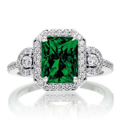 1.5 Carat Emerald Cut Three Stone Emerald Halo Moissanite Diamond Ring on 10k White Gold
