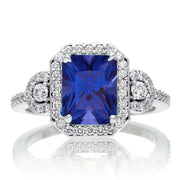 1.5 Carat Emerald Cut Three Stone Sapphire Halo Moissanite Diamond Ring on 10k White Gold