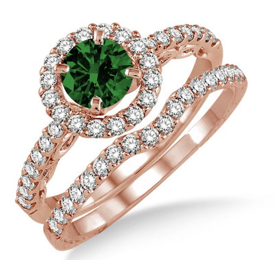 1.5 Carat Emerald Antique Floral Halo Bridal set on 10k Rose Gold
