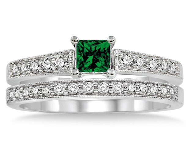 1.5 Carat Emerald Antique Flower Bridal Set on 10k White Gold