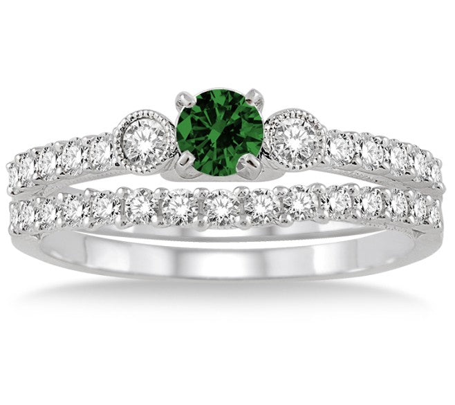 1.5 Carat Emerald Antique Three Stone Bridal Set on 10k White Gold