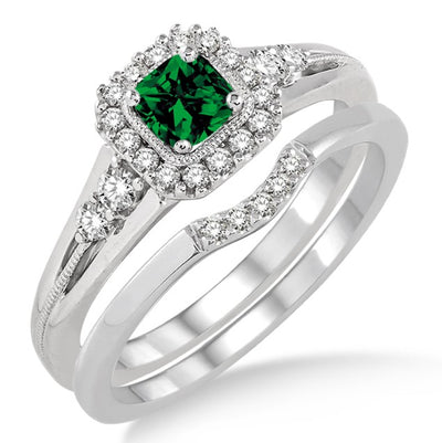 1.5 Carat Emerald Bridal Set Halo Engagement Ring Bridal Set on 10k White Gold