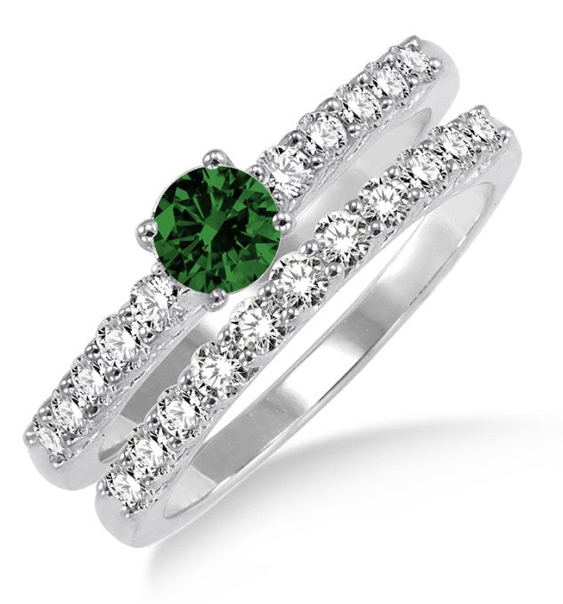 1.5 Carat Emerald Elegant Bridal Set on 10k White Gold