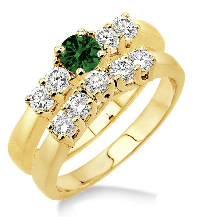 1.5 Carat Emerald Five Stone Bridal Set on 10k Yellow Gold