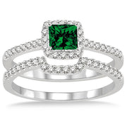 1.5 ct Emerald Halo Bridal Set on 10k White Gold
