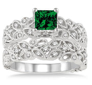 1.5 Carat Emerald Infinity Floral Antique Bridal setRound cut Moissanite Diamond on 10k White Gold