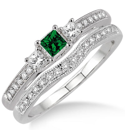 1.5 Carat Emerald Three Stone Bridal Set on 10k White Gold