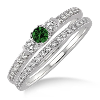 1.5 Carat EmeraldThree Stone Bridal Set on 10k White Gold