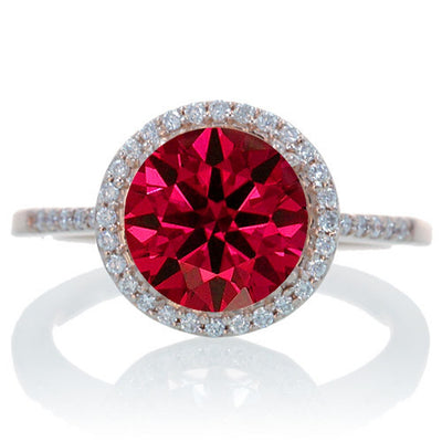 2.5 Carat Huge Ruby and Moissanite Diamond Halo Classic Engagement Ring on 10k Rose Gold