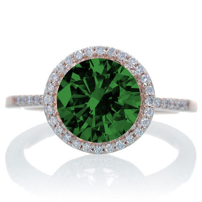 2.5 Carat Huge Emerald and Moissanite Diamond Halo Classic Engagement Ring on 10k Rose Gold