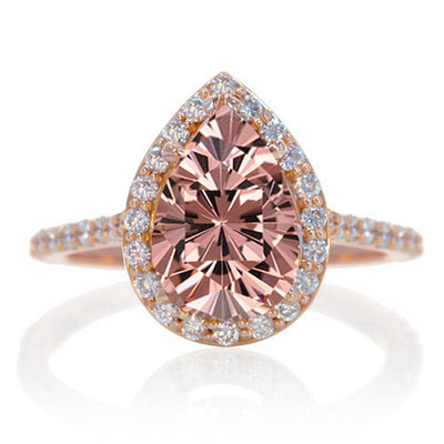 1.5 Carat Pear Cut Morganite Halo Desiger Engagement on 10k White Gold
