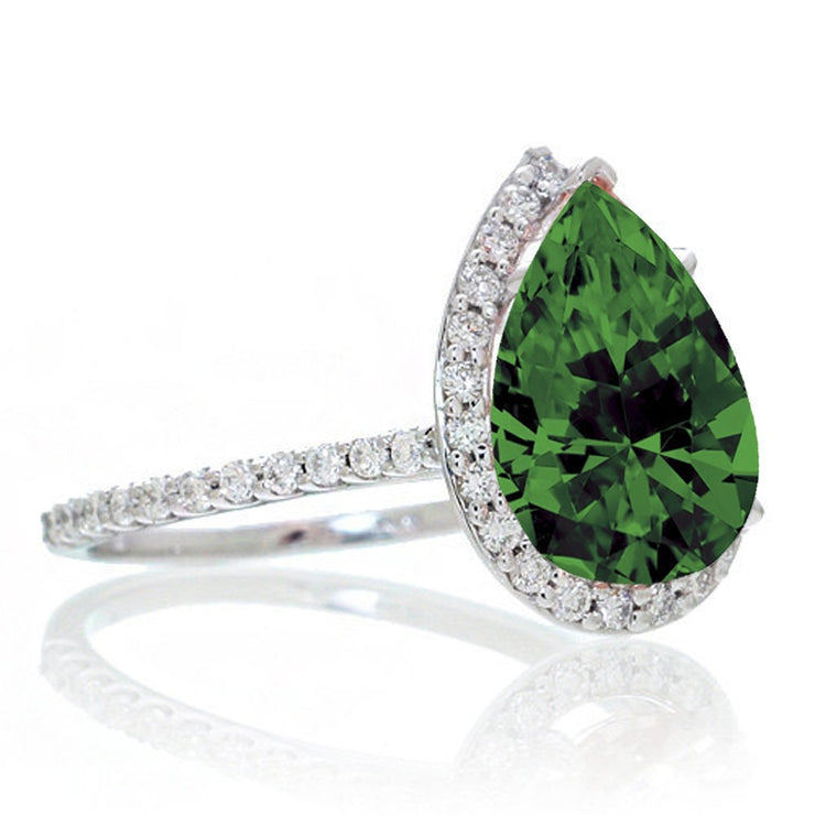 2.5 Carat Pear Cut Emerald Halo Desiger Engagement for Woman on 10k White Gold