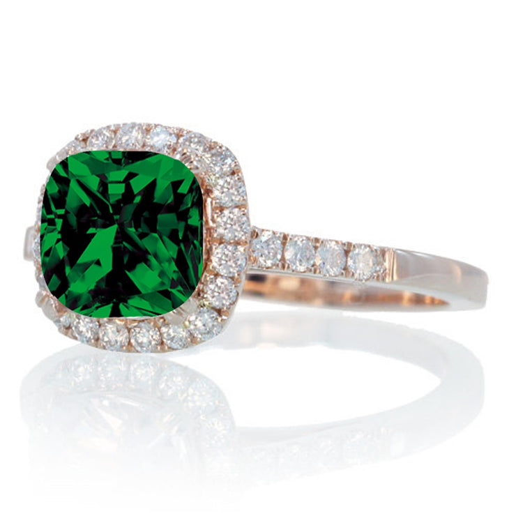 1.5 Carat Perfect Cushion Emerald and Moissanite Diamond Engagement Ring on 10k Rose Gold