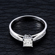 Vintage Moissanite Wedding Ring 1.50 Carat Princess Cut Moissanite on 10k White Gold