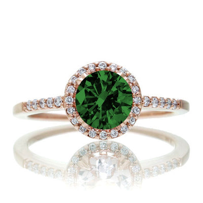 1.5 Carat Round Classic Emerald and Moissanite Diamond Vintage Engagement Ring on 10k Rose Gold