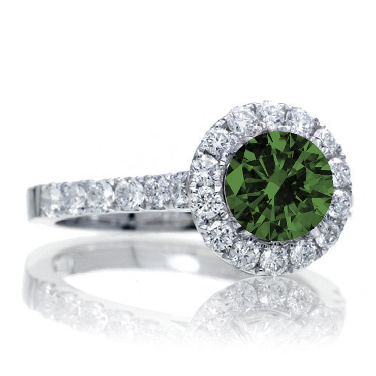 1.5 Carat Round Classic Halo Emerald and Moissanite Diamond Engagment ring on 10k White Gold