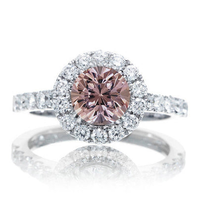 1.5 Carat Round cut Morganite Engagment ring on 10k White Gold
