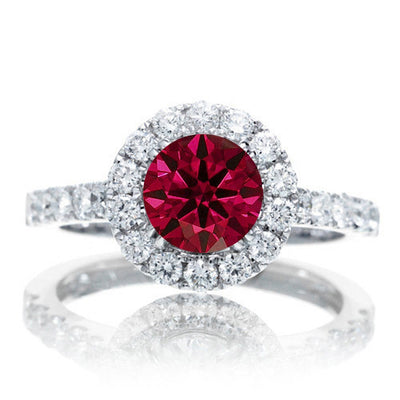 1.5 Carat Round Classic Halo Ruby and Moissanite Diamond Engagment ring on 10k White Gold