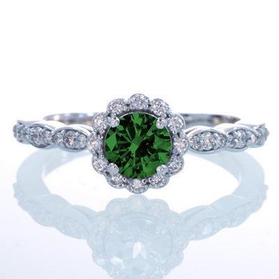 1.5 Carat Round Cut Emerald and Moissanite Diamond Flower Vintage Designer Engagement Ring on 10k White Gold