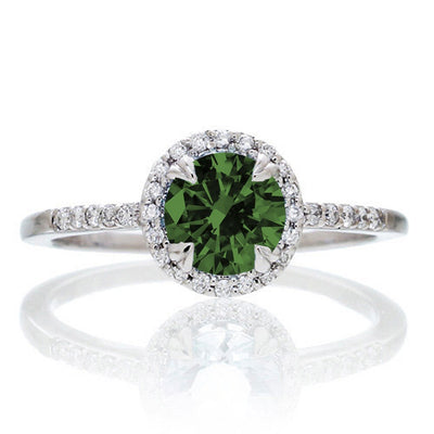1.5 Carat Round Cut Emerald Halo Classic Moissanite Diamond Engagement Ring on 10k White Gold