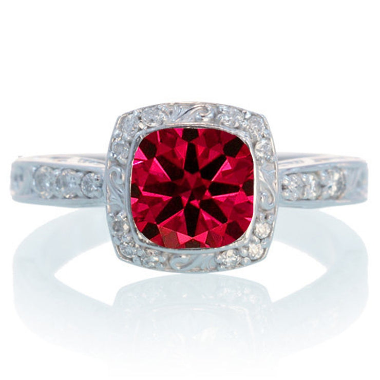 1.5 Carat Round Vintage Ruby and Moissanite Diamond Halo Wedding Ring on 10k White Gold