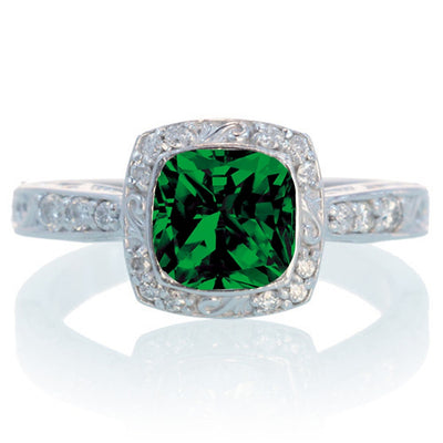 1.5 Carat Round Vintage Emerald and Moissanite Diamond Halo Wedding Ring on 10k White Gold